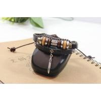 Armband läder med dekor och kulkedja