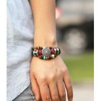 Armband läder med dekor, solros