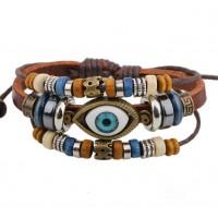 Armband läder med Turkisk Eye (Nazar Boncuğu)