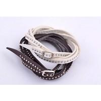 Armband läder med nitar, flervarv / multilayer