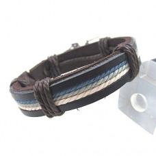 Armband läder med vaxat snöre i färg